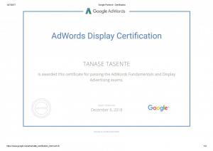 Certificari Google Display