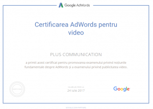 Certificare Adwords for video