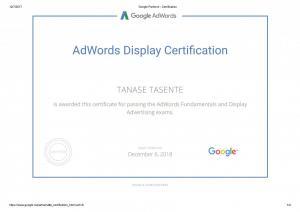 Certificari Google Display